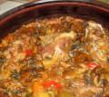 Гювеч със свинско, ориз и гъби