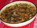 Свински дроб с ориз и гъби на фурна