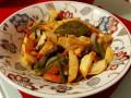 Пържен свински дроб със зеленчуци