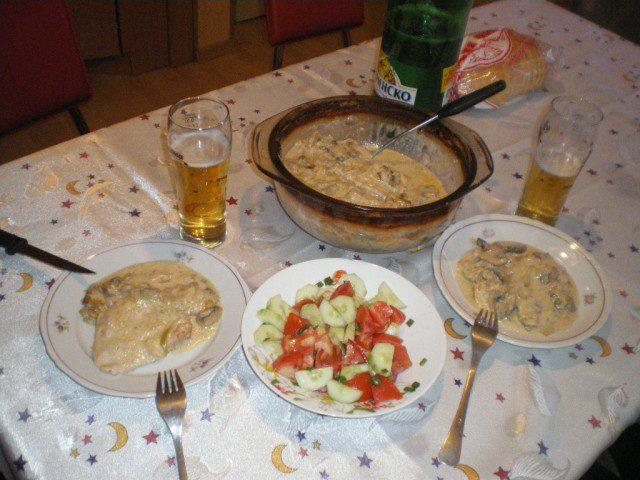 Пържоли на фурна с топено сирене и гъби от Renkata